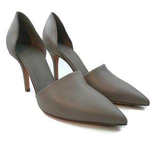 VINCE Claire D'orsay Leather Gray Pumps